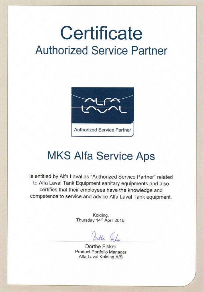 Alfa Laval Authorized Service Partner Certificate